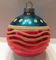 Old Antique VINTAGE SHINY BRITE Christmas Ornament PATRIOTIC FLAG 1940's