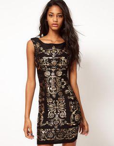 KrispOutlet Baroque Foil Print Black Bodycon Dress - Polyvore