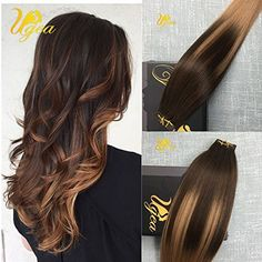 Moresoo 24 Inch 20pcs/50g Balayage Colored Hair Dark Brown to Natural Brown 100% Remy Human Hair Invisible Tape In Hair Extensions