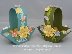 Sandra Ronald, Independent Stampin' Up Demonstrator shows you how to make these Easter Baskets using Stampin' Up Products.  View details at sandraartecardare.blogspot.co.uk