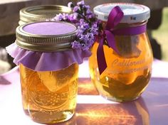 Lavender honey. An amazing appetizer: sliced baguette rounds topped with brie and lavender honey.