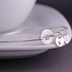 Paw Print Bracelet Personalized Pet Memorial Jewelry Gift by georgiedesigns