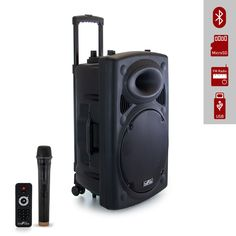"""This beFree Sound multipurpose Bluetooth Portable PA Speaker is designed with 900 Watts of clean amplified sound, bringing more power and sound to your party or event.* USB and MicroSD Car Reader* Metal Grill Covered Speakers* 15"""" Woofer* Inputs: ¼"""" TRS Microphone Connector, AUX-In* 12V Rechargeable Battery* Battery life on half volume approximately 6 hours* AC UL Adapter 100-240V* Handel Bars and Wheels* Integrated 36mm pole mount socket* Cabinets can be stand-mounted but do require a large foo Metal Grill, Party Speakers, Antique Radio, Bluetooth, Usb, Wheels, The Body"""