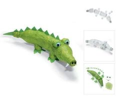 crocodile - make from plastic bottles and paper mache Recycled Crafts Kids, Recycled Art Projects, Projects For Kids, Fun Crafts, Crafts For Kids, Crocodile Craft, Paper Mache Projects, Paper Mache Animals, Plastic Bottle Crafts