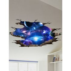 Ceiling Floor Decor 3D Galaxy Planet Wall Stickers ($7.28) ❤ liked on Polyvore featuring home, home decor, wall art, solar system wall art, outer space wall stickers, nebula wall art, solar system wall decals and outer space wall art