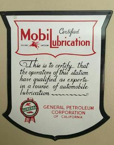 RARE Original Mobil / General Lubrication Porcelain Sign