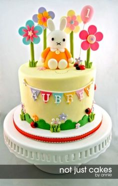 Miffy Cake and Cupcakes for Aubrey By ynagirl on CakeCentral.com