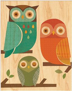 'Owl Trio' by Petit Collage