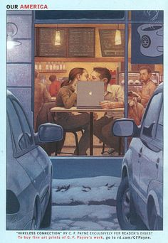 "Reader's Digest back cover, February 2007. ""Wireless Connection"" (In celebration of Valentine's Day, We're assuming!). Illustrator: C.F. Payne"
