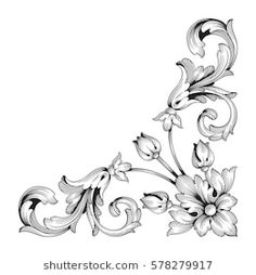 Similar images, photos and stock vectors about Vintage baroque ornament ornate corner sculptor floral retro style antique style acanthus decorative design varnish foliage element of calligraphy of filigre. Baroque Tattoo, Filigree Tattoo, Corner Drawing, Floral Retro, Motif Arabesque, Molduras Vintage, Carved Wood Wall Art, Ornament Drawing, Pinstriping Designs