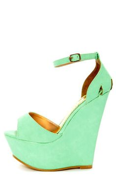 dammit! sold out... Moda 2 Light Green Super Platform Wedge Sandals #shoeporn