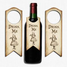 Alice in Wonderland Drink Me Bottle Label Tags Wedding, Tea Party, Birthday Perfect for Wonderland theme parties, weddings etc You will receive 8 bottle tags Ideal for wine bottle gifts or for a party Printed on high quality 300gsm card Size approx 7 x 2.5 inches Blank on the