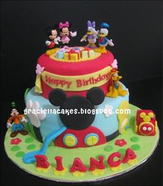 Mickey Mouse Club House 2 Tier Cake--Inspiration
