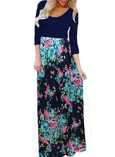 231962d4295e BLUETIME Women s Casual Floral Print Maxi Dress Boho Pleated 3 4 Sleeve  Long Dress (Navy Blue