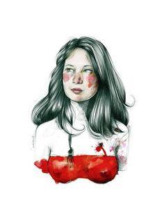 Metaphorical self-portrait with frogman and red sea. Love Drawings, Art Drawings, Adara Sanchez, Paula Bonet, Illustrations, Illustration Art, Tinta China, Portraits, Ap Art