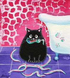 Bad Cat Playing with Toothpaste - Funny Cute Cat Art. $18.00, via Etsy.    Looks just my kitty Poody only she prefers to get into the toilet :(