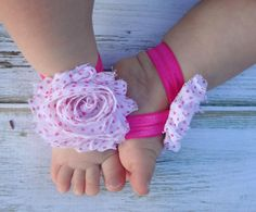 Pink and White Polka Dotted Baby Barefoot Sandals - Newborn Sandals - Baby Clothing - Newborn Clothing - Baby Girls - Photography Prop