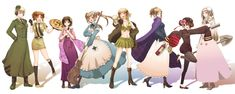Tags: Axis Powers: Hetalia, Asian Countries, United Kingdom (Female), Allied Forces, Axis Power Countries, Soviet Union, Mediterranean Countries, Japan (Female), Nyotalia, Germany (Female), Russia (Female), France (Female), North Italy (Female), China (Female), United States (Female)