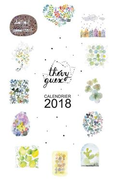 2018 wall calendar Watercolor 2018 calendar New year 2018