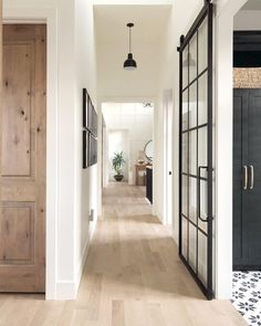 The most gorgeous hallway inspo with white oak floors and sliding French doors v… – Decor Home Doors, Modern Farmhouse, Oak Floors, Home, House Design, Sliding French Doors, Hill Interiors, White Walls, Doors Interior