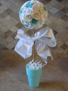 Ivory/off white, white and Tiffany blue/turquoise Flower topiary for any party, wedding, baptism, baby shower, centerpiece or decoration on Etsy, $22.00