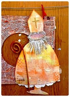 Gesso, masking tape watercolor and pastel Christmas Art, Christmas Humor, Advent, Mixed Media Cards, Ecole Art, Theme Noel, Saint Nicholas, Tatty Teddy, Winter Is Coming