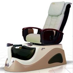 Argento SE Spa Pedicure Chair - The ANS Argento SE is a stylish stainless steel pedicure spa that features beautiful glass sink bowl. White Pedicure, Pedicure Colors, Pedicure Nail Art, Nail Manicure, Nails, French Pedicure Designs, Nail Salon Furniture, Spa Pedicure Chairs, Spa Lighting
