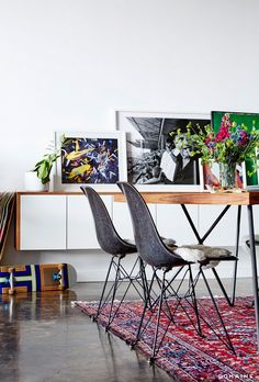 Tour Stylist Jayne Min's Streamlined Los Angeles Loft | Photo by Chris Patey | Modernica Case Study Fiberglass Shell Chairs with Eiffel Base | http://modernica.net/eiffel-side-shell.html