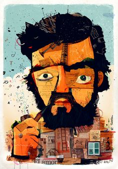 This is a caricature of a great Argentine writer , whom I deeply admire , Julio Cortázar. Art And Illustration, People Illustration, Satirical Illustrations, Abstract Portrait, Backrounds, Digital Collage, Cool Art, Literature, Fine Art