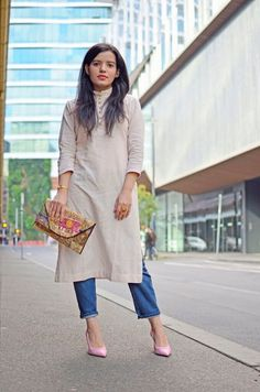 10 Fabulous Ways to Rock Desi Fusion Wear at Work Office Wear Women Work Outfits, Outfit Office, Kurti With Jeans, Dress Over Jeans, Dress Trousers, Mode Hijab, Kurta Designs, Long Tops, Indian Outfits
