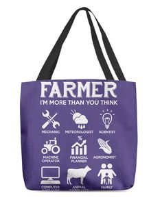 Farmer More Than You Think Funny s - Purple farmer illustration, farmer fashion, farmer quotes #farmers #farmersmarket #agriculture, dried orange slices, yule decorations, scandinavian christmas Farmer Tattoo, Farmer Quotes, Dried Orange Slices, Farm Trucks, Yule Decorations, Scandinavian Christmas, Thinking Of You, Reusable Tote Bags, Agriculture