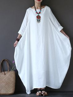 Vintage Women Solid 3/4 Sleeve Loose Maxi Dress For Women