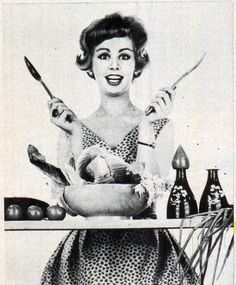 60s housewife getting ready to cook