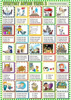 Everyday  life action verbs multiple choice 3