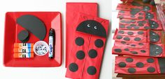 red lunch bags (at Target), and then cut out circles of black paper for ladybug spots, and large circles cut in half for the head.  Glue on some eyes, draw antennas and a line down the center and voila... ladybug puppets! @Katy Mulligan