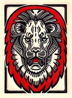 """""""Lion Face"""" Linocut by Sonia Romero #linocut #art"""