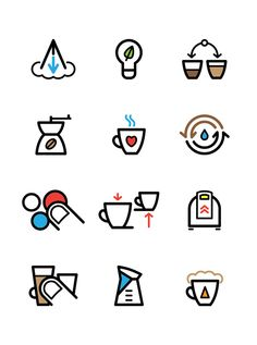 Pictograms for Saeco products catalogue by Znids - real yo-boy , via Behance