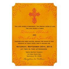 Delicate Cross Religious Wedding Invitations Custom Office Party Invitations #office #partyplanning