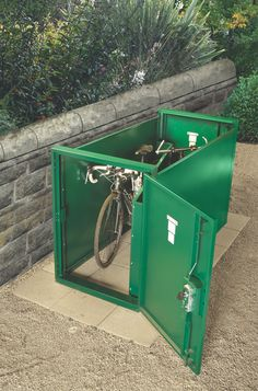 A top view of Asgard Double Ended Bike Locker (With top removed to show the inside of the unit). The Double Ended Bike Locker independently secures 2 bikes. Bike Locker, Outdoor Bike Storage, Bike Shelter, Bike Shed, Bike Store, Garden Sheds, Motorcycle Bike, Outdoor Landscaping, Top View