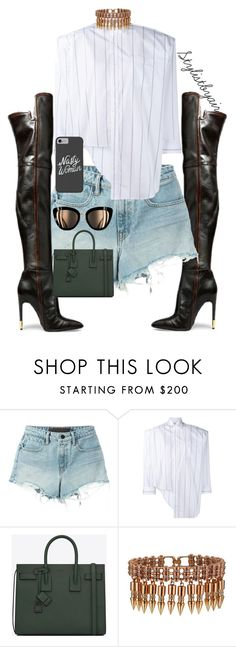 """""""Untitled #6895"""" by stylistbyair ❤ liked on Polyvore featuring Giuseppe Zanotti, Alexander Wang, Vetements and Yves Saint Laurent"""