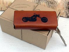 KeyHolder Chopper Keychain Key Fob Motorcycle Personalized  Natural Leather Monogram Karabiner Gift for Him Her Boyfriend Father Mother