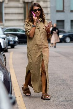 Pin for Later: The Best of Paris Fashion Week Street Style (Updated!) MFW Street Style Day 3 An easy shirt dress gets oomph via some major fur-covered slides.