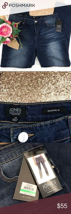 Jones New York Madison Slim Plus Size 18 Jeans Jones New York Madison Slim jeans in the color Storm Wash. Perfect new with tags condition. Flattering straight leg cut with Sculpt & Flatter transforming technology that shapes and flattens your tummy while enhancing your natural assets. Good amount of stretch. Wardrobe staple!   CONDITION Brand new with all tags attached. No flaws.   MEASUREMENTS Waist: 18in (flat) Rise: 11in Inseam: 31in  MATERIALS 54% Cotton 28% Viscose 19% Polyester 1%…