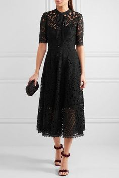 Temperley London - Berry Pussy-bow Guipure Lace Midi Dress - Black - UK10