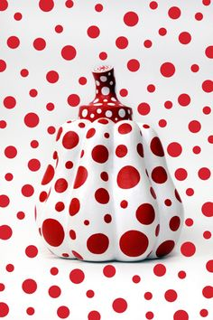 Yayoi Kusama pumpkin sculpture with red polka dots