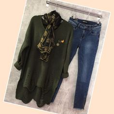 Warm cosy dark olive jumper with enamel badges and ladder detail. Wear with our latest zip jeans and silk skull scarf.