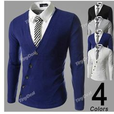 Side Button Design Autumn Winter Casual V-neck Long Sleeve T-Shirts for Men DCD-353646