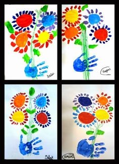 K: Picasso inspired handprint with flowers. AtR