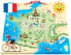 Cartoon map of France Royalty Free Stock Vector Art Illustration