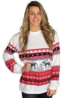 Christmas Sweater Tee in Navy & Red by Lauren James #$0-to-$50
